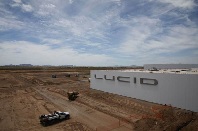 Image of commercial chain link fencing and gates at Lucid Motors