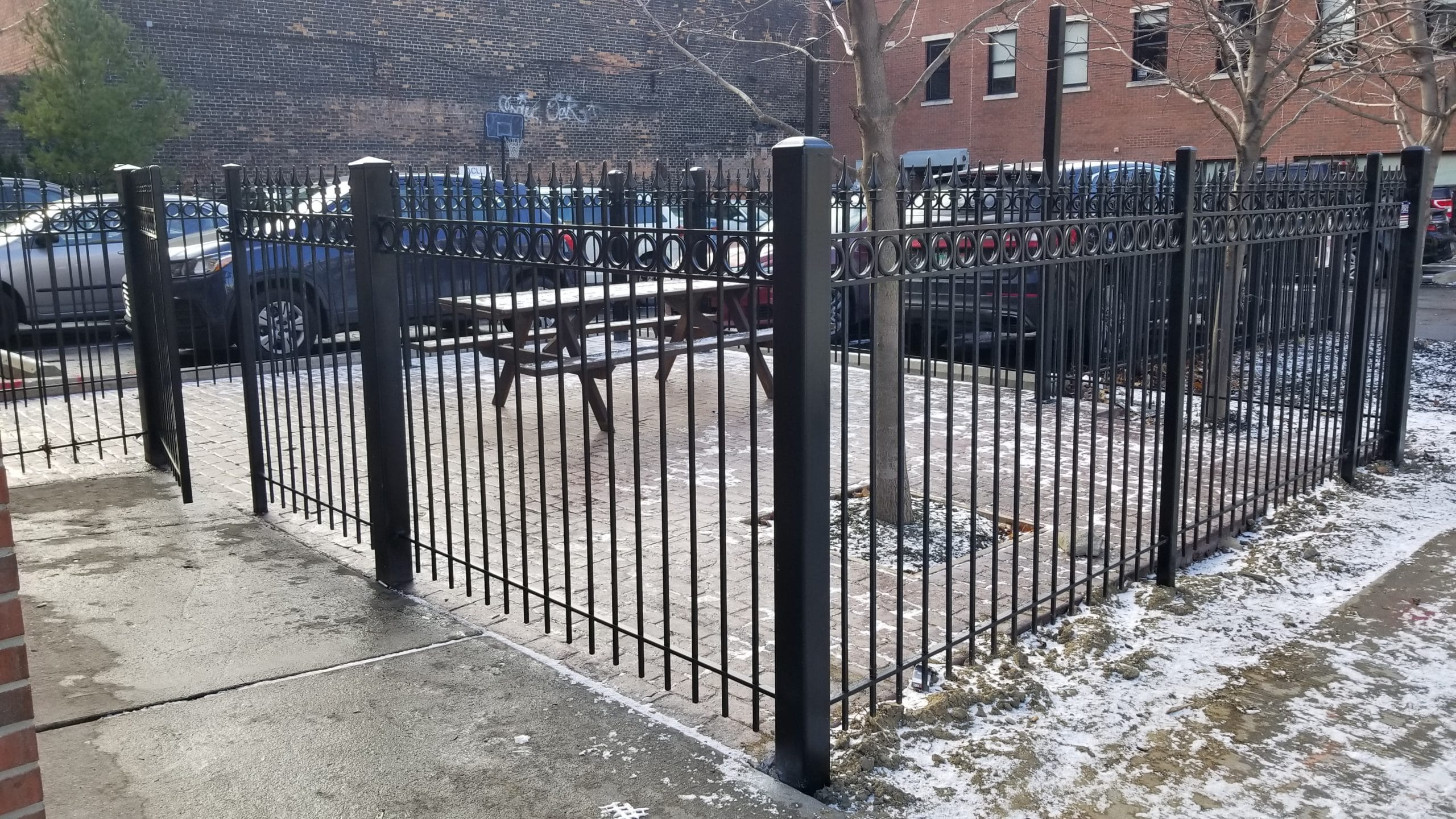 Image of commercial picket fencing in Metro Detroit, Michigan