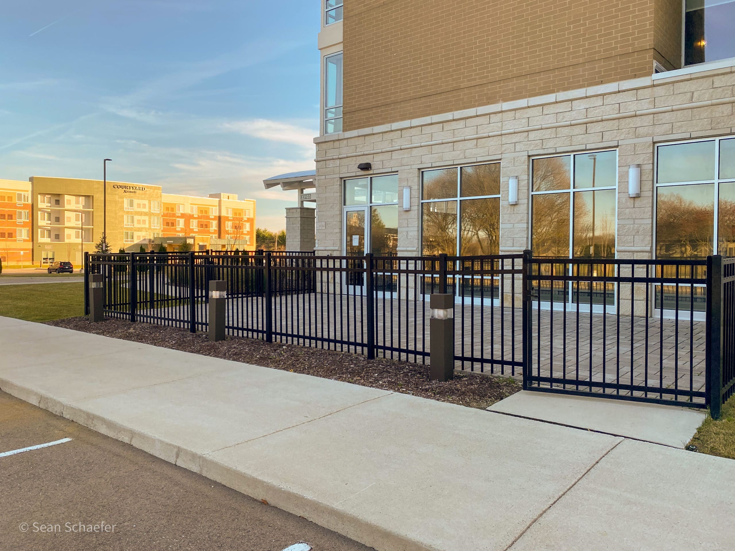 Image of ornamental aluminum picket fencing and swing gates in Metro Detroit, Michigan