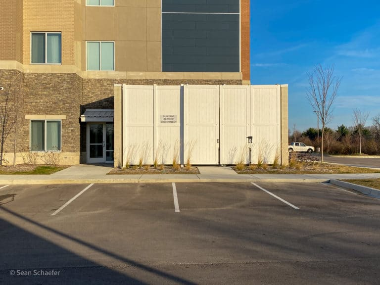 Image of PVC / vinyl privacy fencing / dumpster and HVAC enclosures / gates at Residence Inn / Holiday Inn & Suites