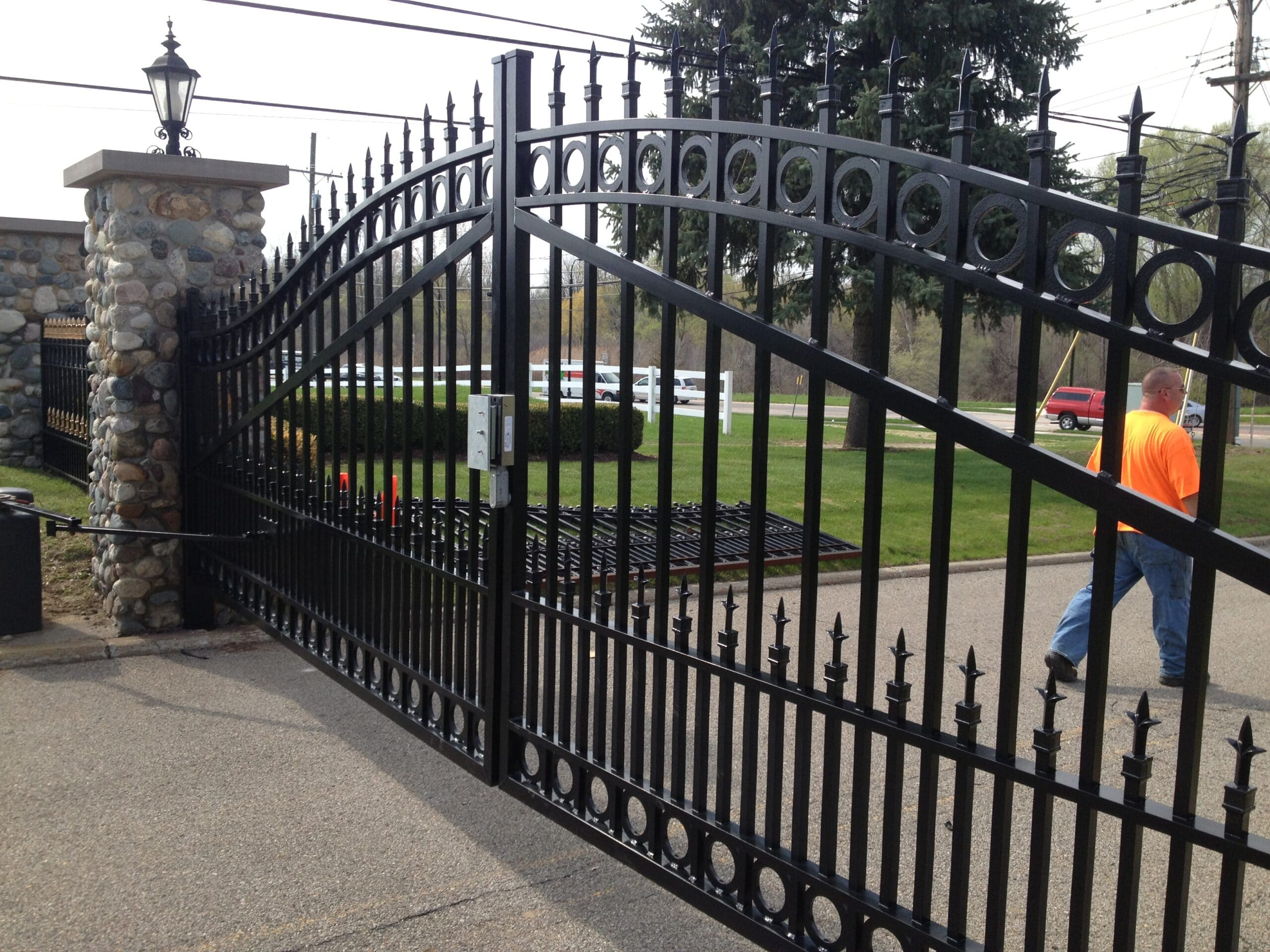 Commercial driveway gate and access control system / electric gate operator at Van Hoosen Jones Cemetery in Rochester, Michigan