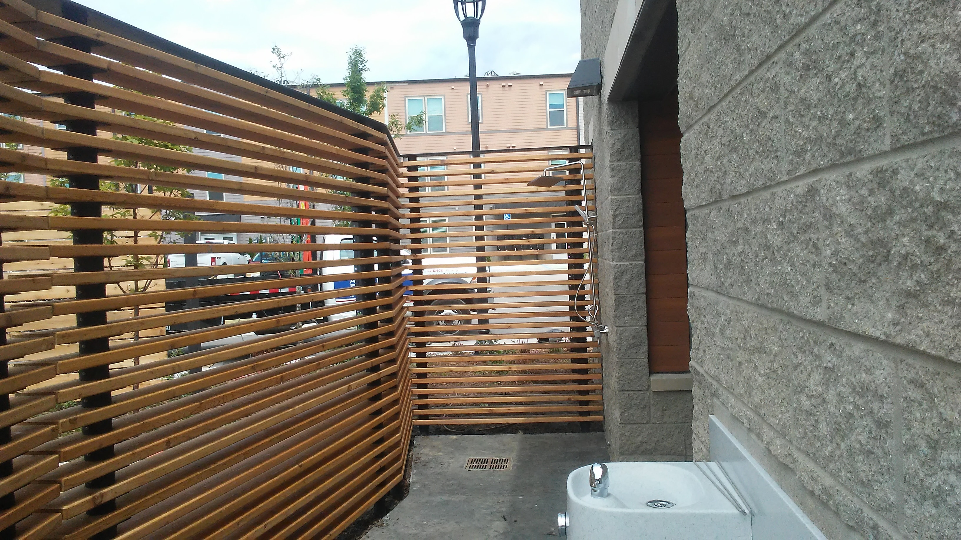 Commercial wood and steel fencing at Orleans Landing in Metro Detroit, Michigan
