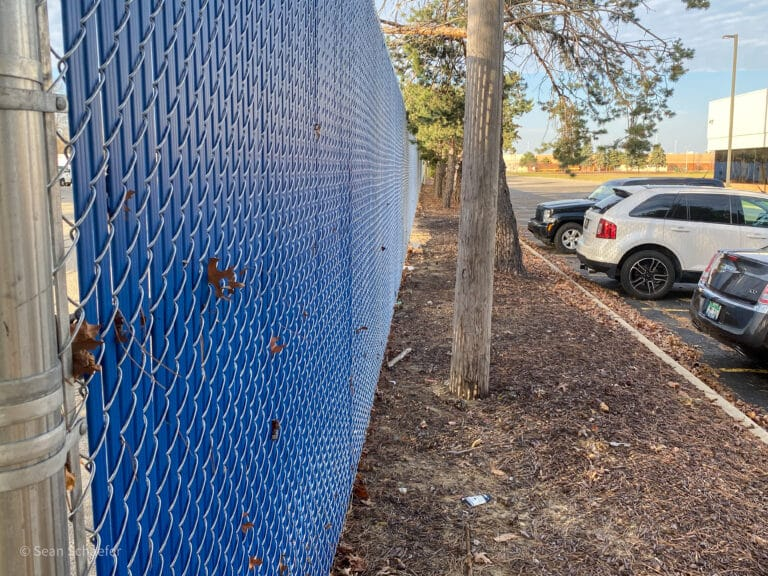 Image of commercial chain link fencing and gates at the Lamphere High School