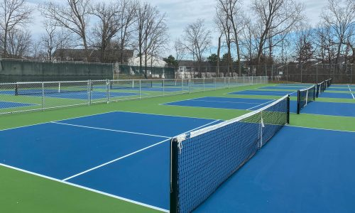 Image of new pickle ball courts, commercial chain link fencing, nets, and posts in Metro Detroit, Michigan